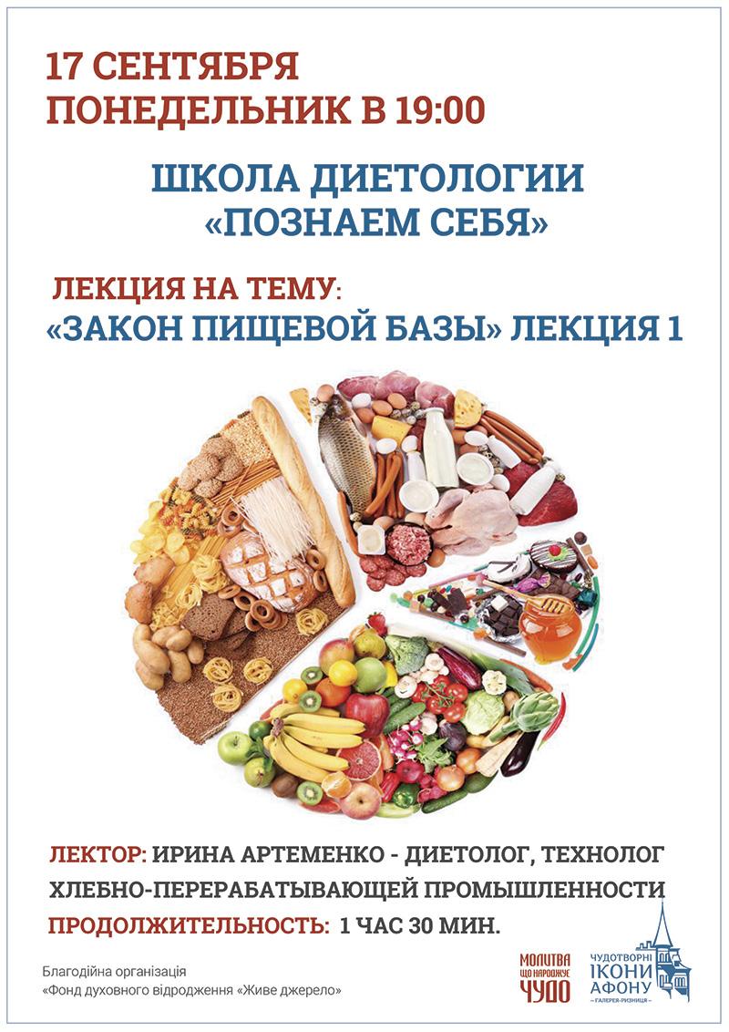 Школа диетологии Киев лекции. Закон пищевой базы