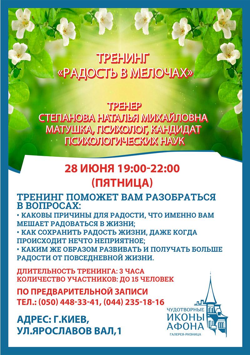 Тренинг радости в Киеве. Радость в мелочах